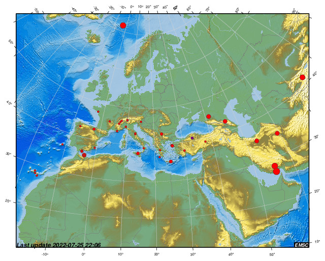Latest earthquakes map in Europe