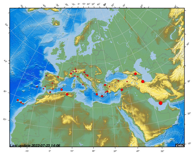 Recent earthquakes in the Euro-Med region